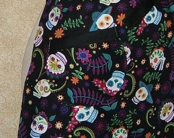 Apron Sugar Skulls chef style cell pocket oven mitt adjustable neck strap grinning skulls black bright colors flowers sombrero cotton fabric