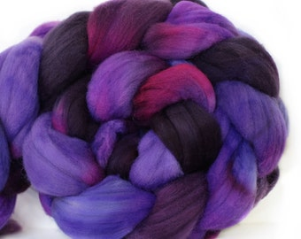 Delphinium 4 oz Targhee Roving Wool Superwash-Handpainted Top for Spinning or Crafting