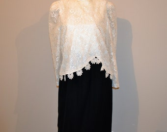 Vintage Dress Soutache  Lace on Black
