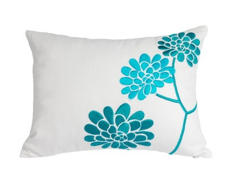 Turquoise  Flower Pillow Cover, Lumbar Pillow Cover, Decorative Pillow, White Linen Turquoise Peony Pillow, Embroidered, Cushion Cover