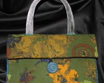 Handmade Handbag Purse Adler Vintage Upholstery Fabric Barton Pattern Olive Green, Royal Blue Orange & Black with painted plastic handles