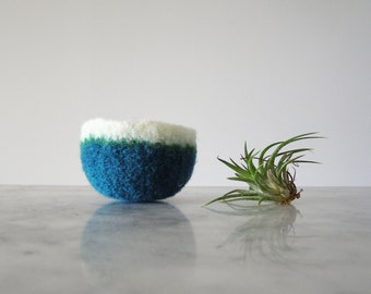 Tiny Felted Wool Dish - Air Plant Planter - Ring Dish - Jewelry Bowl - Scratch Free - Teal, Green, and White Bowl - Ready to Ship