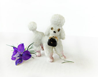 Vintage Sugared Textured Porcelain French Poodle Figurine , Holding a purse in is mouth , Kitschy Japan 1960s Export Dog Collectible MINT