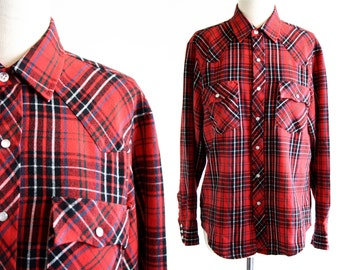 Black and Red Plaid Button Down Vintage Unisex Western Style Long Sleeve Shirt