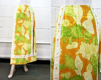 1960'S Mod Lilly Pulitzer  Vintage Yellow and Orange Seaside Print With Wide Trim Maxi Skirt