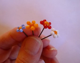 Glass Fairy garden, micro miniatures, glass flower (4) in your choice of colors, miniature fairy garden, fairy garden supply, terrarium  MTO