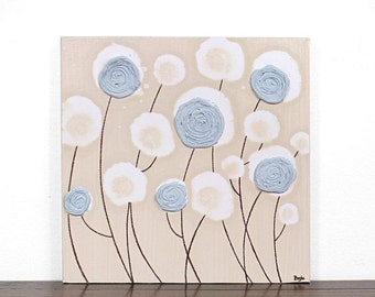 ON SALE Textured Flower Painting on Canvas - Blue and Khaki Wall Art - Small 12x12