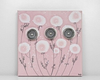 ON SALE Baby Girl Nursery Art - Pink and Gray Canvas Flower Painting - Small 10x10