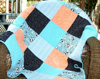 Handmade Baby Quilt, modern baby quilt, panda baby quilt, colorful baby quilt, aqua quilt, patchwork baby quilt, baby boy quilt, baby girl