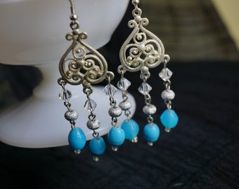 Bright blue and silver Chandelier earrings