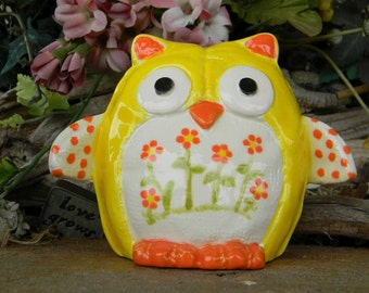 Ceramic Owl  Glazed  Ceramic Owl  Statue  Vintage Design Modern Mold  mcm Ready to ship items in my shop c