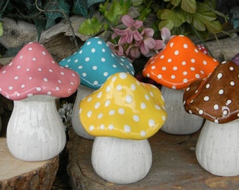 Ceramic Mushroom Garden Toadstool Statue PINK AMANITA fly Fairy Garden Gnome decor   pottery ....     ready to ship zm