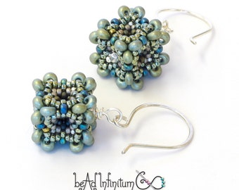 Baroque Cube Earrings in Cool Silver Beaded Sterling Silver Wire