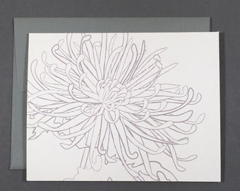 Chrysanthemum Coloring Card