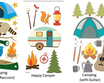 Camping Stickers Outdoor Campfire Bonfire | 3-D Stickers | Scrapbook Stickers