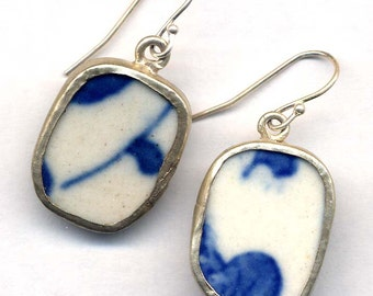 Winter Earrings, Antique Pottery Blue and White on Sterling Silver ear wire, Blue and White Earrings, Handmade Jewelry by AnnaArt72