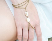 CLEARANCE SALE Hand Chain Bracelet Piece Hipster Bronze SilverChain Boho Bohemian White Mother Pearl Bead Three Chain Hand Ring Jewelry BRAr