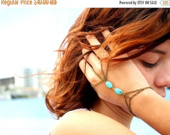 CLEARANCE SALE Hand Chain Bracelet  Hipster Bronze Chain Bohemian Two Turquoise Beads Triangle Hand Jewelry Piece BRSuzy