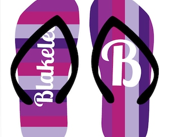 TOTES PURPLE personalized flip flops in adult and kid sizes