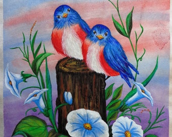 BLUEBIRDS & MORNING GLORIES - Print