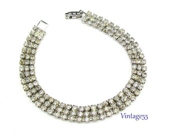 Bracelet Rhinestone Three Strand Clear
