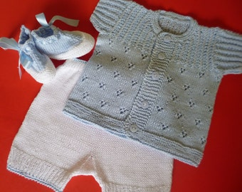 Knitted Baby Outfit, Cotton Baby Set, Summer Cotton Set, Take Home , Baby Shower Gift, Knitted Outfit, 6/7 Pounds Newborn Set.