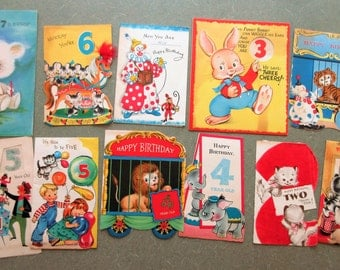 Vintage Greeting Cards, Card Lot, Child Birthday Cards, Specific Year Birthdays, Scrapbooking Supply, Vintage Cards, Cute Kawaii Zakka