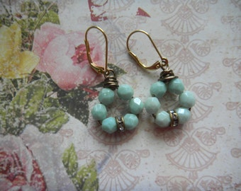 Czech Seafoam Beads, Faceted Dangles, Drop Earrings, Round Earrings, Crystal Spacers, Mint Color Earrings