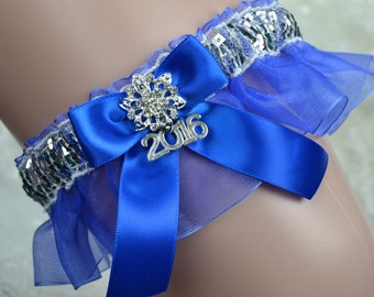Royal Blue Prom Garter /Silver & Royal Blue Prom Garter/ Prom Garter/Garters/2017 Prom garter/garter Belt
