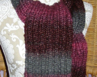 Wine, Grey, and Magenta Scarf