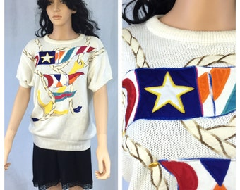 Vintage Nautical Themed Short Sleeve Sweater. Summer Sweater. Size Large. 1980s. Sailing. Anchor. Flags. Colorful. Cotton Rayon. Under 20