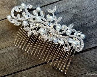 Bridal Hair Comb, Rhinestone Hair Comb, Wedding Hair Comb, Bridal Hair Accessory, Bridal Hair Piece, Pearl Hair Comb, Wedding Headpiece