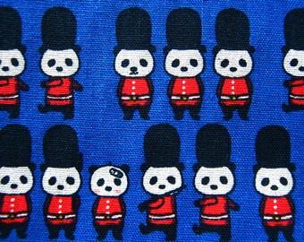 Animal Print Fabric By The Yard - Panda March on Blue - Cotton Fabric - Fat Quarter