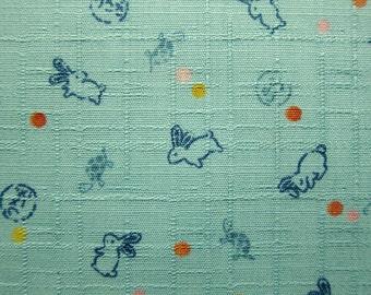 Japanese Fabric Textured Cotton  - Rabbits Fabric - Fat Quarter - Kokka Fabric From Japan LIMITED YARDAGE