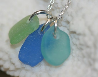 Genuine cornflower, aqua, sea foam sea glass cluster charms and sterling silver chain necklace - beach glass necklace - sea glass pendants