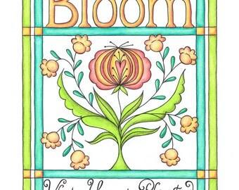 Modern Bloom Where You Are Planted Fraktur Flower Print 8 x 10
