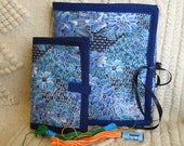 Blue Brocade Armchair Sewing Caddy Needle Book Handwork Organizers Set