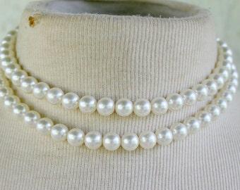 Pearl Multi Strand Necklace statement Elegant Bridal