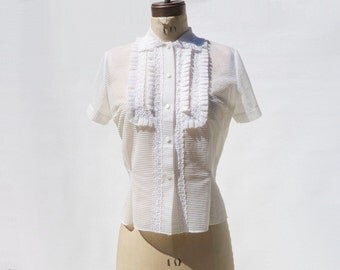 1950s Blouse, Vintage White Blouse, Sheer Nylon Blouse, 50s White Blouse, Short Sleeve Blouse, Ruffled Blouse, size large