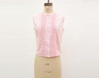 Vintage Pink Blouse Sheer Nylon Blouse 60s Ruffled Blouse Cropped Pink Top Vintage 60s Blouse Pink Ruffled Blouse 60s Vintage Blouse, m