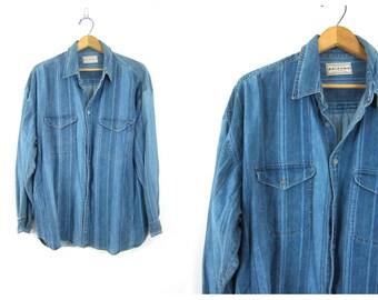 Vintage Denim Boyfriend Shirt Striped Button Down Blue Jean Shirt Oversized Shirt Basic Normcore Pocket Shirt Men's size XL Extra Large