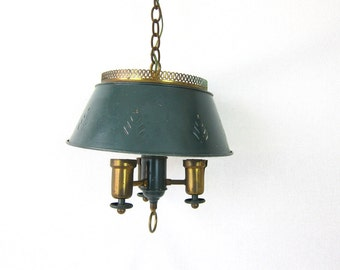 Metal Toleware Chandelier hanging Swag light fixture Green Tole dining room lighting  Cut Out Lampshade 1960's 1970's Mid Century Home Decor
