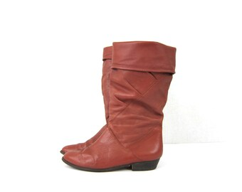 Tall Brown leather boots fold over 80s Slouchy boots grunge boho fall leather boots women's size 7.5