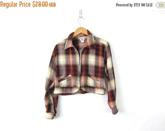 Plaid Jacket Cropped Cotton Coat Hipster Preppy Coat Lightweight Crop Jacket Zipper Collared Jacket Women's Size Large 1990s Revival Coat