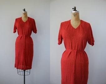 vintage 1970s dress / 70s knit dress/ 70s burnt orange sweater dress / 70s boho dress / 70s autumn dress / 70s medium dress / large