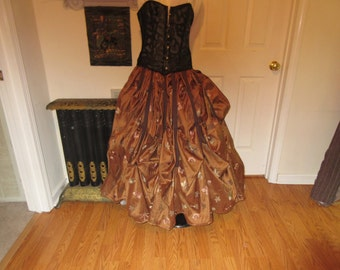 Steampunk skirt small, med large , xl plus sizes 2xl, 3xl, 4xl 100 % silk emboridered brown pink gold blue flowers adjustable waist beautful