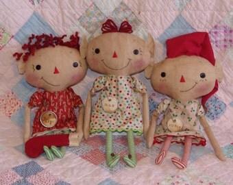 Primitive Christmas Elf doll pattern, 14 inch raggedy cloth doll pattern, Christmas Sewing pattern, HFTH189
