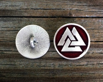 2 Viking Valknut Pewter Shank Buttons 3/4 Inch 7/8 Inch & 1 Inch