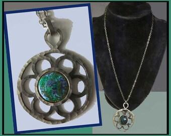 DANISH Mod Flower Power Pendant,Bent Larsen Pewter Pendant with Stone or Enamel Accent,Scandinavian Modernism,Vintage Jewelry,Women