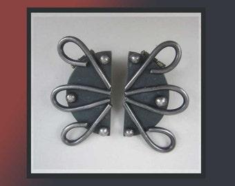 ATOMIC Ear Clips,Modernist Sterling Silver Sputnik Clip On Earrings signed Bunny Winters,Vintage Jewelry,Women